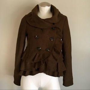 Anthropologie Elevenses Ruffle Wool Jacket